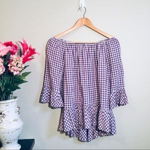 beachlunchlounge Tops - BEACHLUNCHLOUNGE Purple Gingham Off Shoulder Top